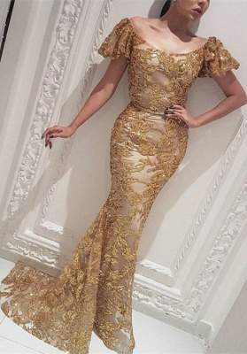 Gorgeous Off-the-Shoulder Gold Evening Dress | 2020 Mermaid Long Prom Gowns_1