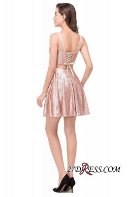 2020 Sexy Sequined Lace-Up Two-Pieces Mini Homecoming Dress_6