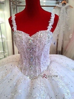 Luxurious Beading Puffy Straps Sparkly Lace Ball-Gown Ceystals Wedding Dress BC0725_2