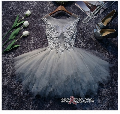 Lace-Appliques Cute Sleeveless Short Illusion Puffy Homecoming Dress_3