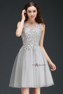 Silver Tulle Short A-Line Sleeveless Appliques Homecoming Dress_7