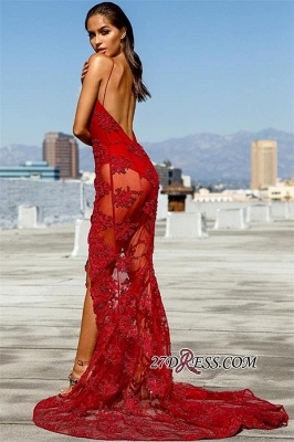 Sexy Red See Through Mermaid Prom Dresses | Deep V-Neck Sleeveless Appliques Side Slit Evening Dresses_1
