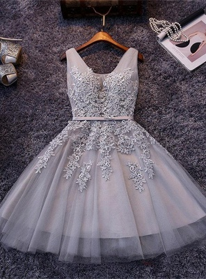 Beautiful Sleeveless lace-up Short homecoming Dress 2020 Lace Appliques Tulle BA3782_4