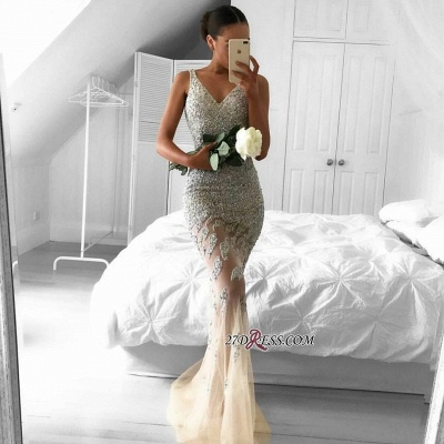 2020 Lace-Appliques Beads Sleeveless Straps Tulle Gorgeous Mermaid Evening Dress BA6959_1