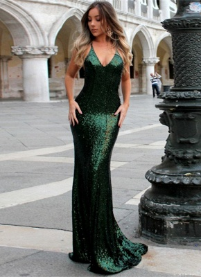 Sexy Green Sequined Bodycon Evening Dress | Long Formal Dress_1