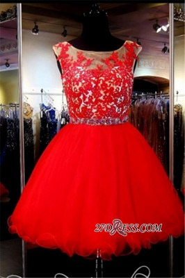 A-Line Red Appliques Tulle Short Sleeveless Mini Homecoming Dress_3