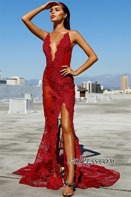 Sexy Red See Through Mermaid Prom Dresses | Deep V-Neck Sleeveless Appliques Side Slit Evening Dresses_2