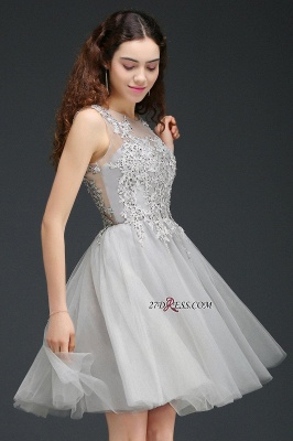 Silver Tulle Short A-Line Sleeveless Appliques Homecoming Dress_4