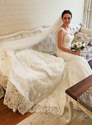 Elegant V-Neck Cap Sleeves Lace Bridal Gowns | Long Mermaid Wedding Dress With Zipper_1