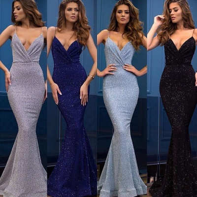 Sexy Spaghetti-Straps Sequins Evening Gowns | 2020 Mermaid Long Prom Dress_2