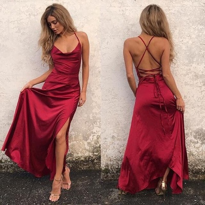 Sexy Red Sleeveless Spaghetti Strap 2020 Prom Dress Front Split Long Backless_3