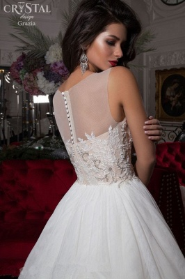 Delicate Illusion Sleeveless Wedding Dress With Lace Appliques_2