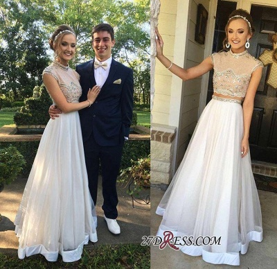 Two-Piece Cap-Sleeve Newest Crystal High-neck A-line Prom Dress BA7445_1