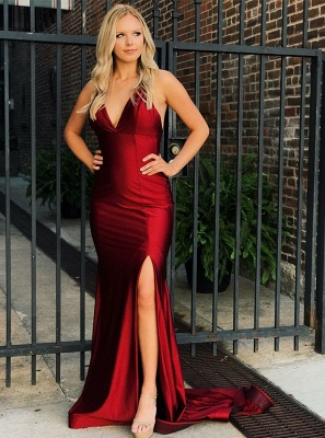 Sexy V-Neck Sleeveless 2020 Evening Dress | Mermaid Criss Cross Strings Prom Gown With Split_1