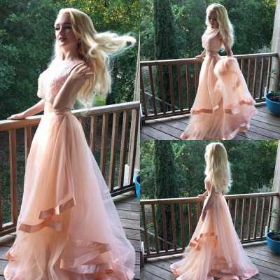 Gorgeous Two Pieces Beads 2020 Prom Dress Tulle Ruffles Romantic_3