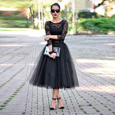 Sexy Black Lace 3/4 Sleeve Prom Dresses 2020 Tulle Tea-Length_3