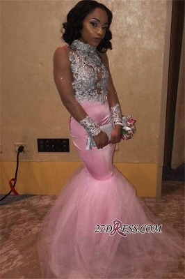 Pink High-Neck Appliques Tulle Evening Gown | 2020 Sleeveless Mermaid Prom Dress_1