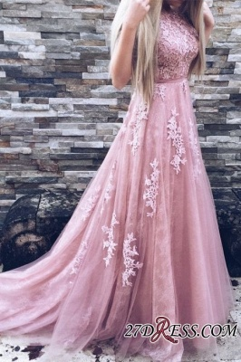 Lace Floor-Length A-Line Gorgeous High-Neck Pink Prom Dresses_3
