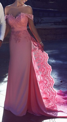 Off-the-Shoulder Lace Lace Long Natural A-Line Candy-Pink Prom Dresses BA3857_2