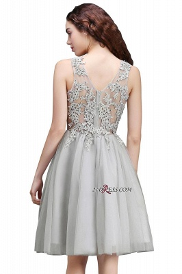 Silver Tulle Short A-Line Sleeveless Appliques Homecoming Dress_6