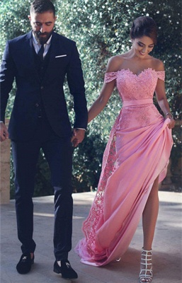 Off-the-Shoulder Lace Lace Long Natural A-Line Candy-Pink Prom Dresses BA3857_3