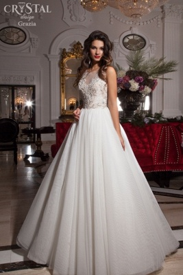 Delicate Illusion Sleeveless Wedding Dress With Lace Appliques_1