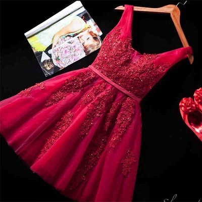 Beautiful Sleeveless lace-up Short homecoming Dress 2020 Lace Appliques Tulle BA3782_6