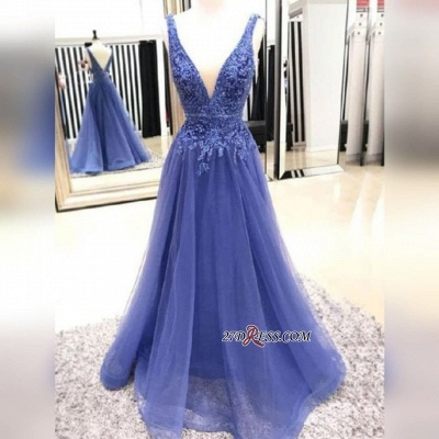 V-neck A-line Fascinating Appliques Lace Prom Dresses_2