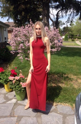 Sexy red prom dress, 2020 long evening dress with crystal_1
