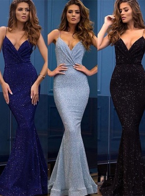 Sexy Spaghetti-Straps Sequins Evening Gowns | 2020 Mermaid Long Prom Dress_1