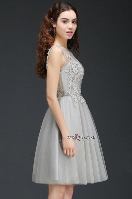 Silver Tulle Short A-Line Sleeveless Appliques Homecoming Dress_5