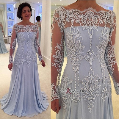 Long-Sleeve Lace A-line Elegant Mother-the-bride Dress_2