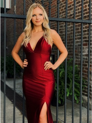 Sexy V-Neck Sleeveless 2020 Evening Dress | Mermaid Criss Cross Strings Prom Gown With Split_4