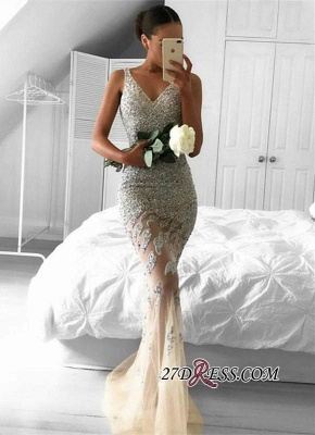 2020 Lace-Appliques Beads Sleeveless Straps Tulle Gorgeous Mermaid Evening Dress BA6959_2