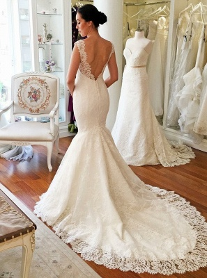 Elegant V-Neck Cap Sleeves Lace Bridal Gowns | Long Mermaid Wedding Dress With Zipper_3
