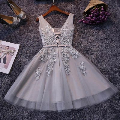 Beautiful Sleeveless lace-up Short homecoming Dress 2020 Lace Appliques Tulle BA3782_5