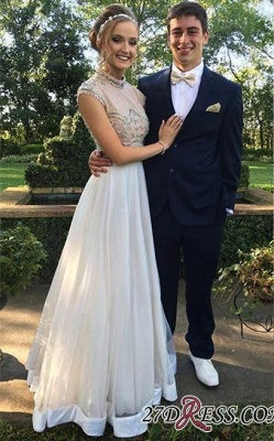 Two-Piece Cap-Sleeve Newest Crystal High-neck A-line Prom Dress BA7445_2