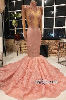 New Arrival High Neck Flower Appliques Formal Dresses   Pink Long Sleeves Mermaid Evening Dresses BC1875_1