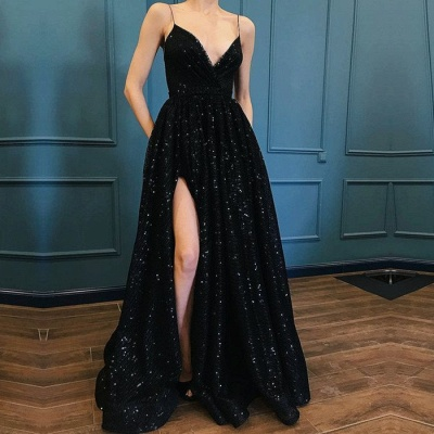 Sexy Black Sequins Prom Dresses | 2020 Spaghetti-Straps Long Evening Gowns BC1252_2