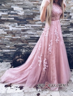 Lace Floor-Length A-Line Gorgeous High-Neck Pink Prom Dresses_2