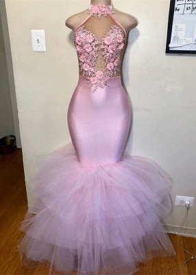 Elegant Halter Pink Mermaid Prom Dresses | 2020 Tulle Evening Gowns With Flowers_1