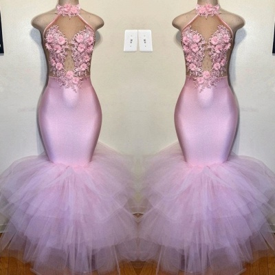 Elegant Halter Pink Mermaid Prom Dresses   2020 Tulle Evening Gowns With Flowers_2