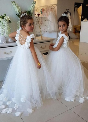 Lovely White Flower Girl Dress | 2020 Tulle Long Girls Pageant Dress