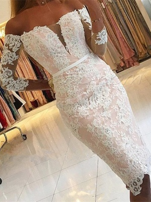 Off-the-Shoulder Long-Sleeves Appliques Sheath Pink Sexy Homecoming Dress qq0363_1