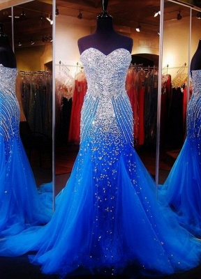 Luxurious Sweetheart Sleeveless Tulle Prom Dress With Beadings Crystals_1