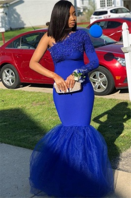 Royal Blue Appliques Mermaid Evening Gown | Sexy One-Shoulder Tulle Prom Dress BC1526_2