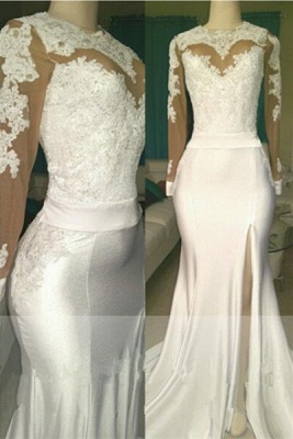 White lace long sleeve prom dress, 2020 evening dress with slit_1