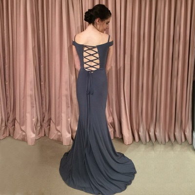 Off-the-shoulder mermaid prom dress, 2020 lace-up evening dress_4