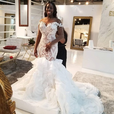 Mermaid Lace Appliques Tulle Wedding Dress Delicate Bridal Gowns_2