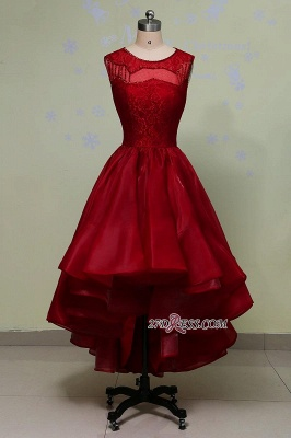 2020 Glamorous Sleeveless Sequins Lace Red Hi-Lo Prom Dress_4